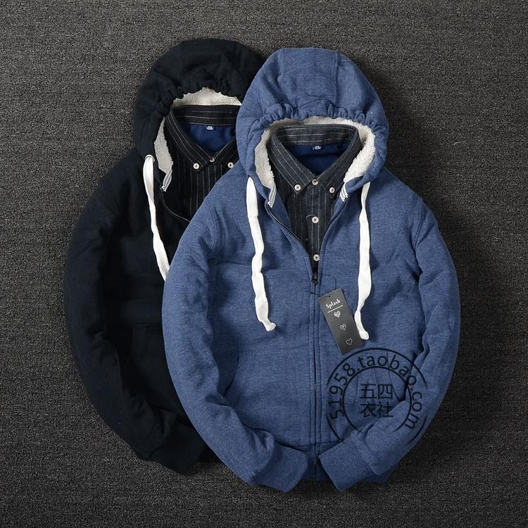 外貿原單男裝冬款羊羔絨連帽衛衣男士 加絨棉衣厚外套棉服01
