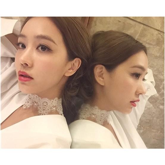 2004 韓國直送蕾絲鏤空繫帶扣頭頸鍊項鍊扣頭式黑色扣頭式白色綁帶式黑色綁帶式白色