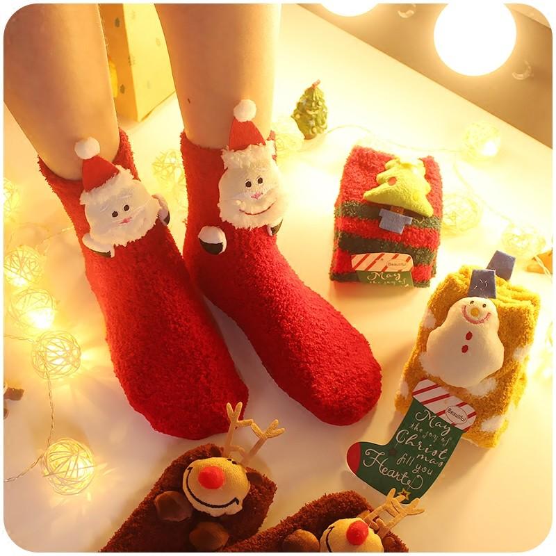保暖系列❤️立體聖誕老人麋鹿聖誕樹薑餅人軟軟保暖襪大人小孩皆有