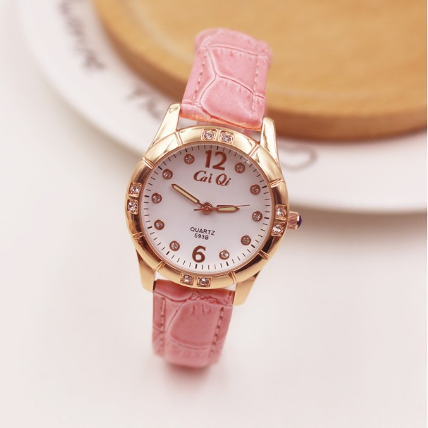 防水夜光 女表皮帶 可愛學生手錶女時裝表氣質女士石英表