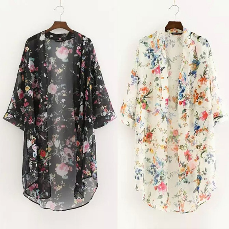 FINEJO 女士前開衣領花紋不對稱下擺寬鬆雪紡上衣