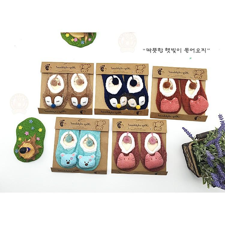 韓國 嬰幼兒小童寶寶地板襪子羽毛紗防滑公仔襪