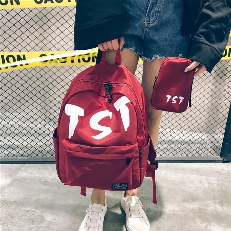 尼龍雙肩包字母包中大學生書包挂小包兩件套男女中性背包YJLBH178