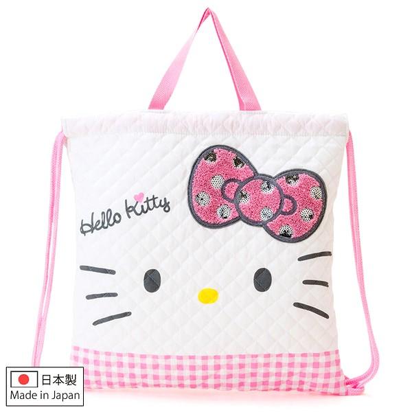 Hello Kitty 束口袋日製白色菱格壓紋亮片蝴蝶結棉布束口後背袋束口袋後背包喜愛屋0
