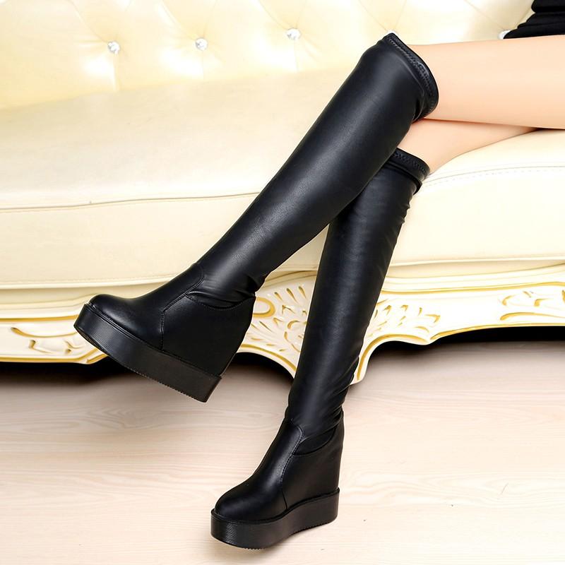 ☞☞☞ギケグn 春秋高跟過膝長靴子 厚底內增高高筒靴瘦腿彈力靴平底松糕女鞋