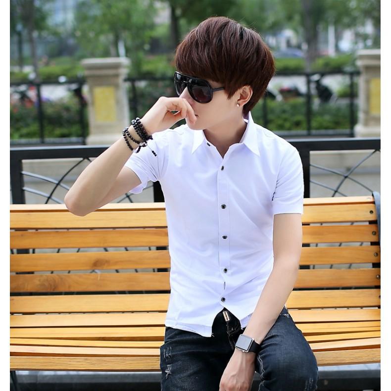 薄款白襯衫男短袖修身型休閒潮男士純色免燙襯衣 青年上衣