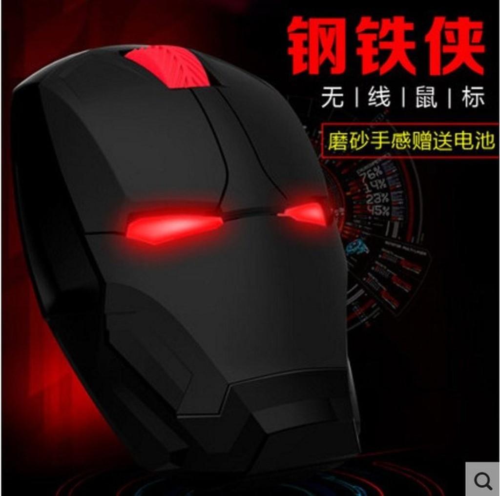 鋼鐵人鋼鐵俠個人電腦筆記型電腦無線滑鼠 省電無聲静音酷炫生日 爵士黑磨砂紅光