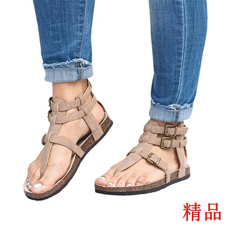 【年末清倉】2018 Shoes Women Casual Flat Ankle Strap gladiator sa