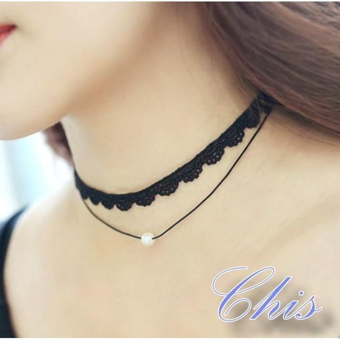 Chis Store ~蕾絲頸鍊 小珍珠~韓國簡約百搭復古款短項鍊鎖骨鍊頸圈項圈情人節 M