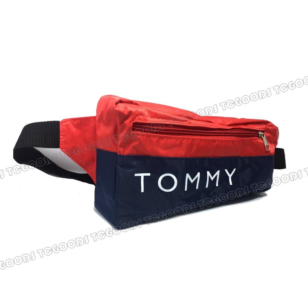 ~台中好物~日雜附錄TOMMY 配色藍紅尼龍防水輕量腰包斜背包單肩包後背包隨身包