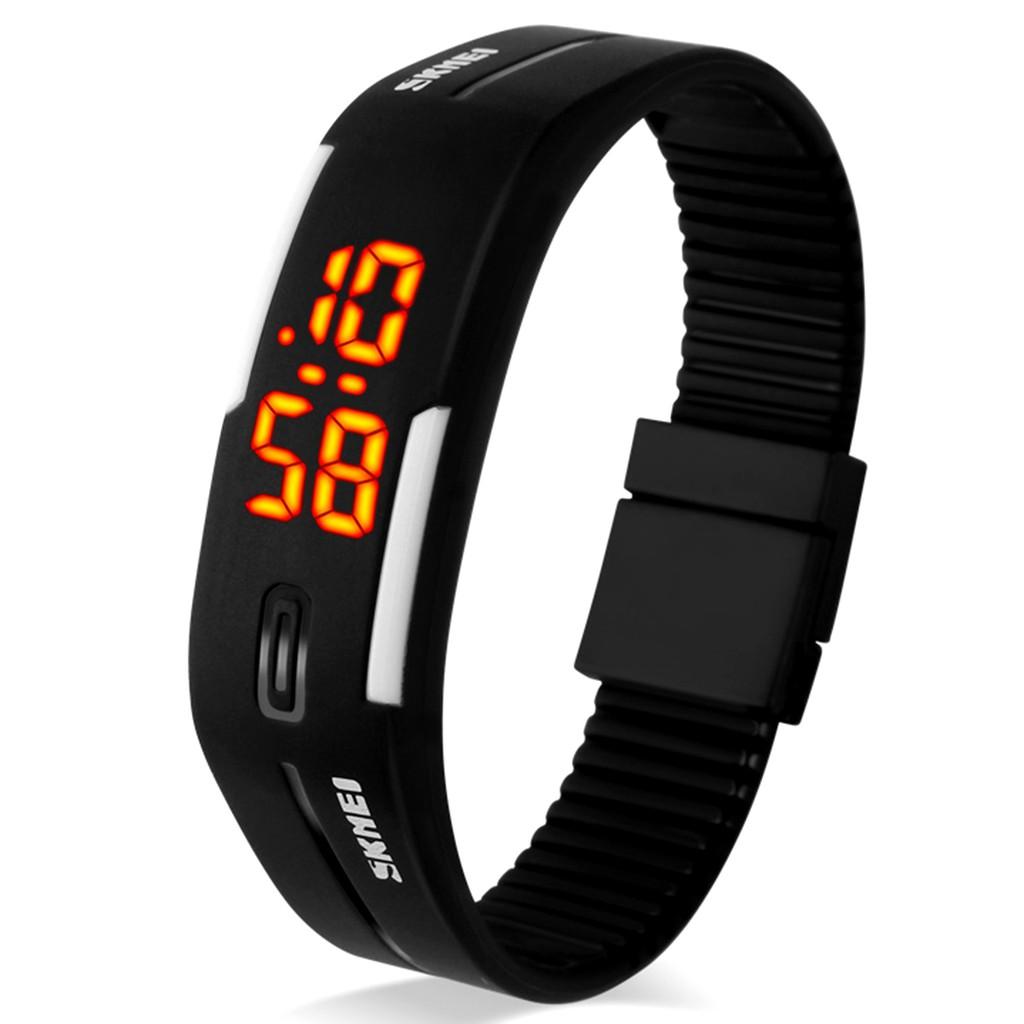 SKMEI 學生防水電子手錶情侶 手環手錶黑色