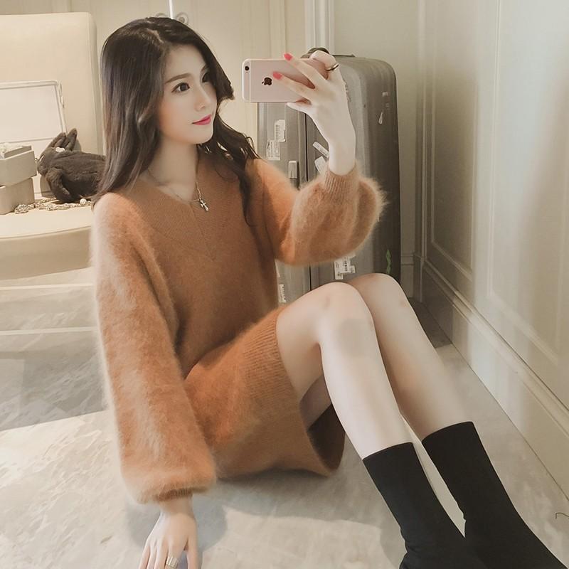 2016 V 領寬松套頭海馬毛毛衣女中長款打底秋 外套兔毛