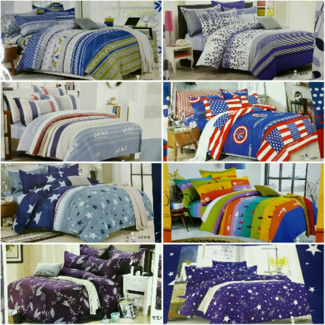 ~柑丫店~雙人床包3 件組蘆薈棉環保活性印染5 ×6 尺床包枕頭套卡通床包薄款