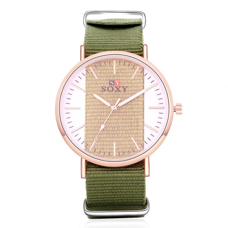 女性奢華玫瑰金腕錶尼龍帶手錶透明錶盤石英手錶