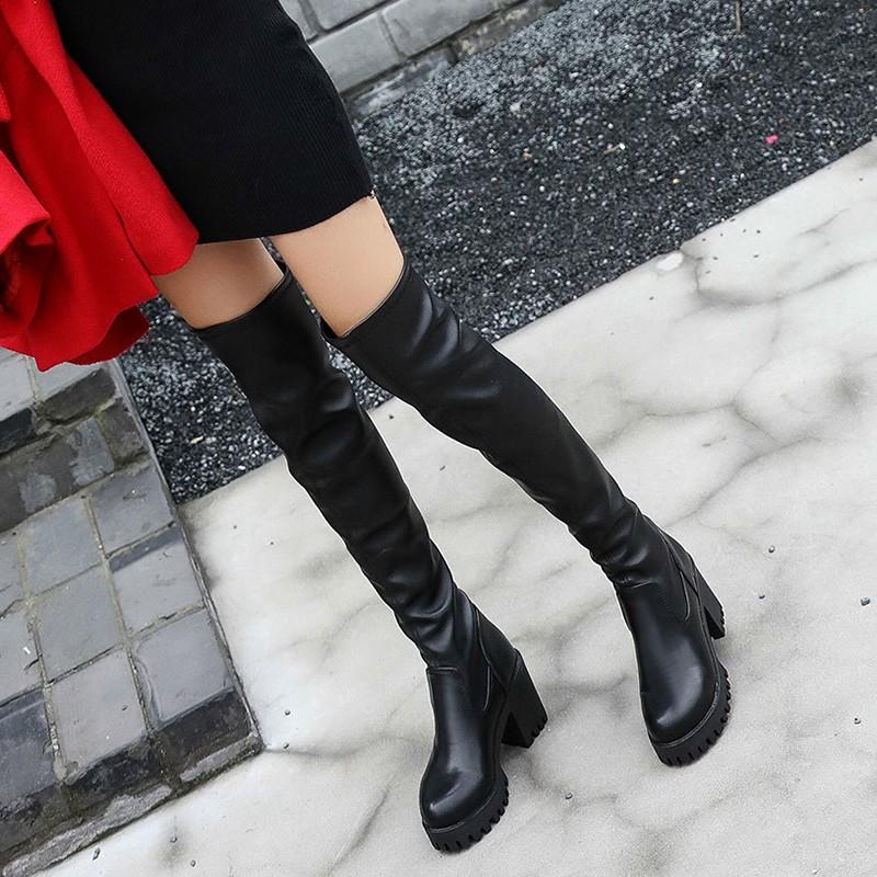 短靴 長筒靴女靴長靴過膝高筒靴加絨高跟顯瘦腿彈力靴粗跟靴子過膝靴短靴馬丁靴靴子