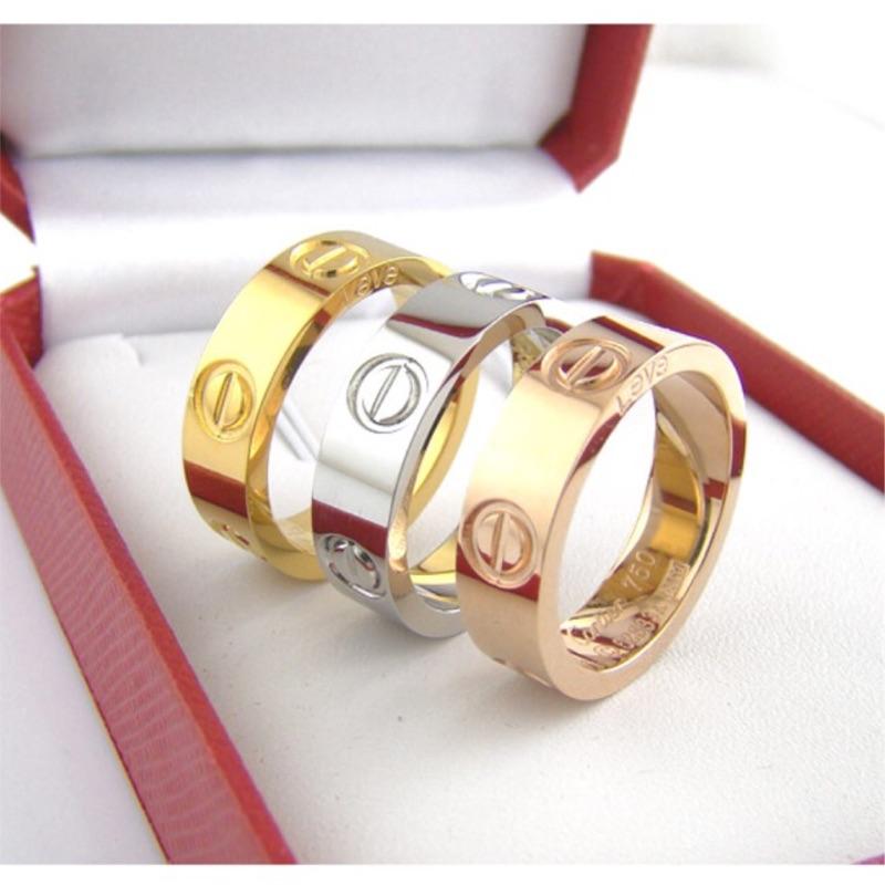 明星最愛cartier 卡地亞同款LOVE 系列三釘情侶對戒18K 螺絲戒指專櫃同款情侶戒