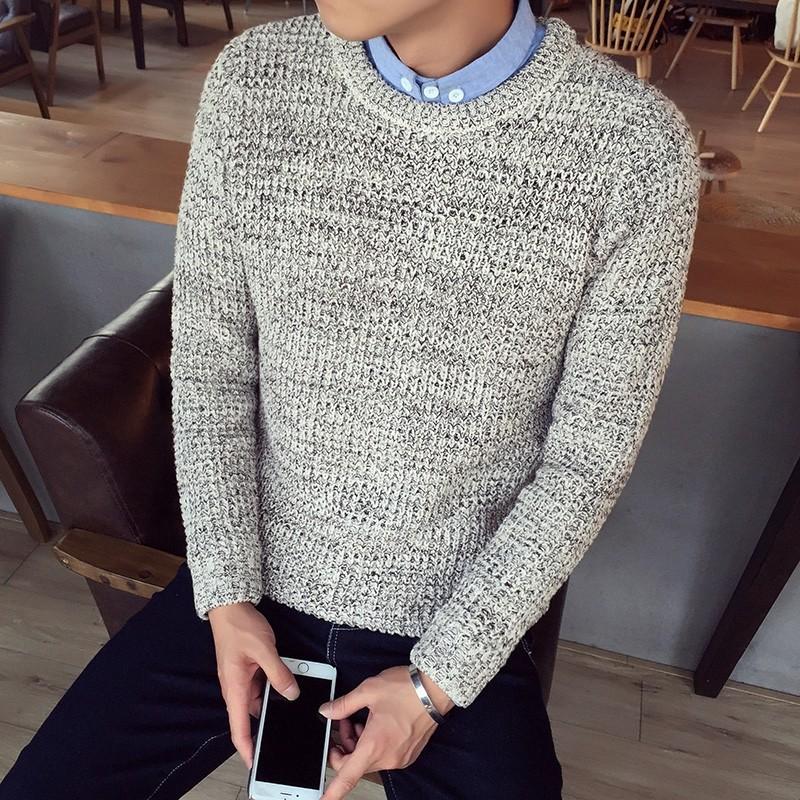 圓領套頭純色毛衣男士加肥加大碼針織衫 青年線衣潮流男裝