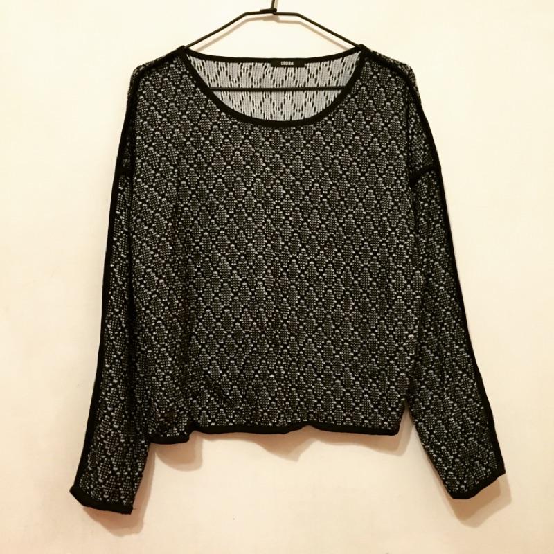 韓 滾邊寬鬆短版針織上衣毛衣仿蕾絲圖騰感Zara pazzo 可參考不刺膚