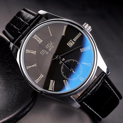 男士 手錶藍光玻璃圓盤防水真皮帶石英錶