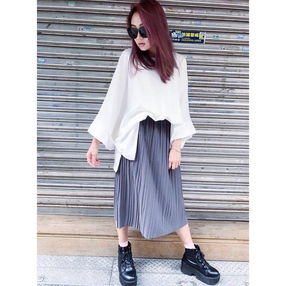 全鬆緊壓褶過膝裙長裙百褶棉裙復古氣質春裝顯瘦 半身裙m809