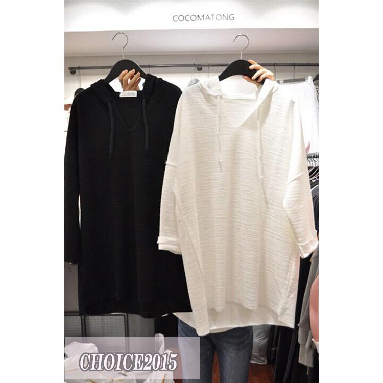 韓 新品 風格簡約 長版棉質連帽長袖V 領素色T 恤帽T 大學T 上衣
