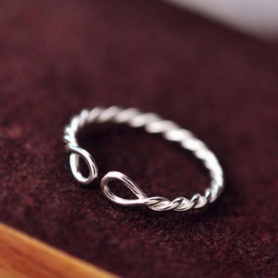 s925 純銀麻花開口 戒簡約小巧食指戒指指環銀飾
