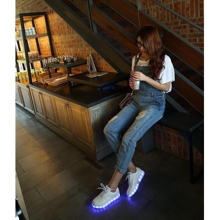 發光鞋夜光鞋USB 充電七彩LED 燈光鞋超纖板鞋 男女鞋夜光鞋USB 充電 鞋增高夜店酒