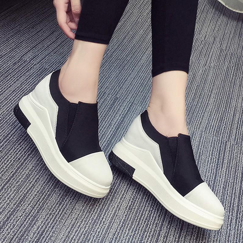 2016 樂福鞋坡跟 鞋厚底一腳蹬懶人內增高女鞋潮單鞋小白鞋