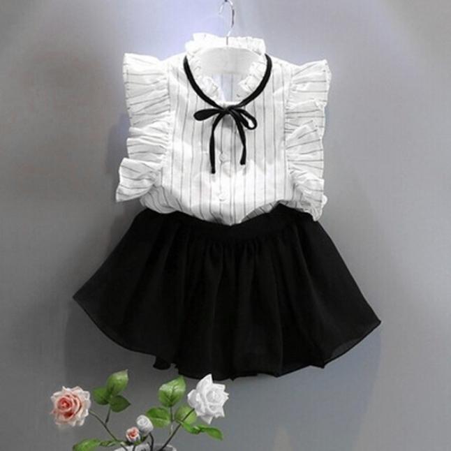 女款條紋襯衫雪紡裙兩件套衣服裙子套裝