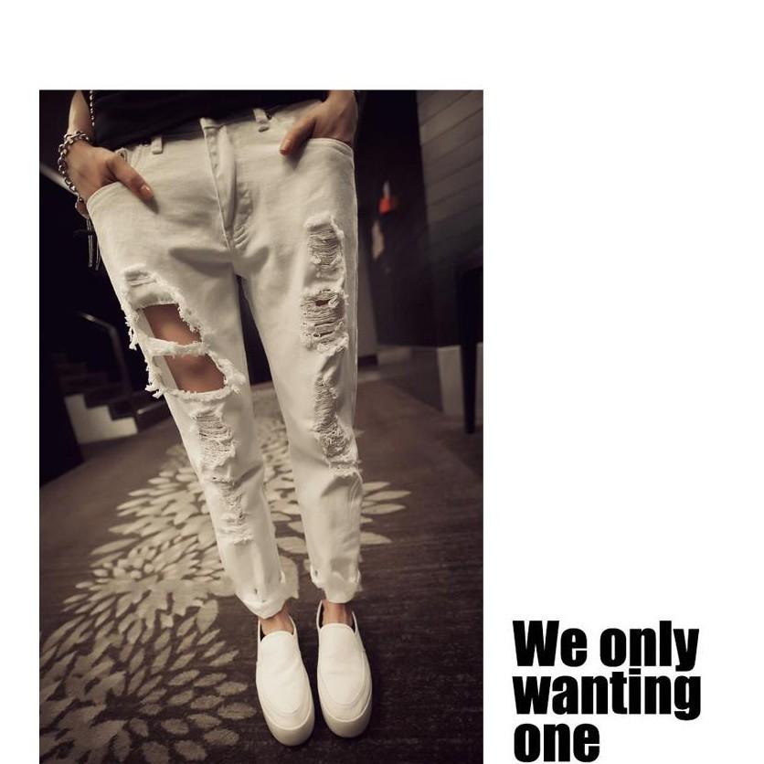 韓國 學生街拍潮款破洞水洗百搭顯瘦白色牛仔哈倫褲 牛仔褲