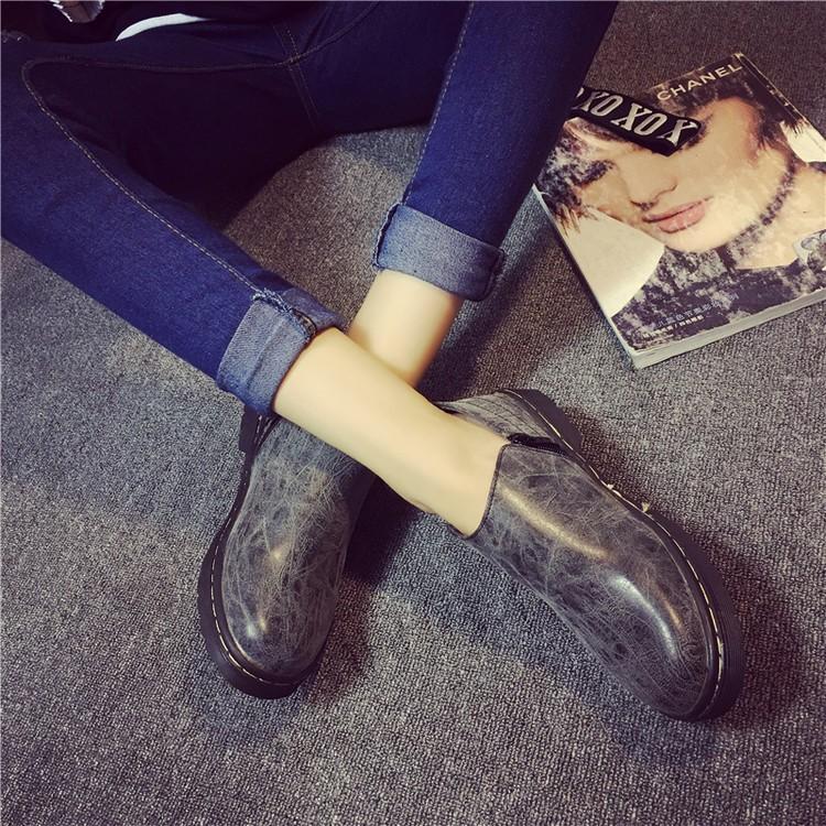 單鞋女鞋2016 英倫學院風短筒學生馬丁靴平底短靴子復古小皮鞋