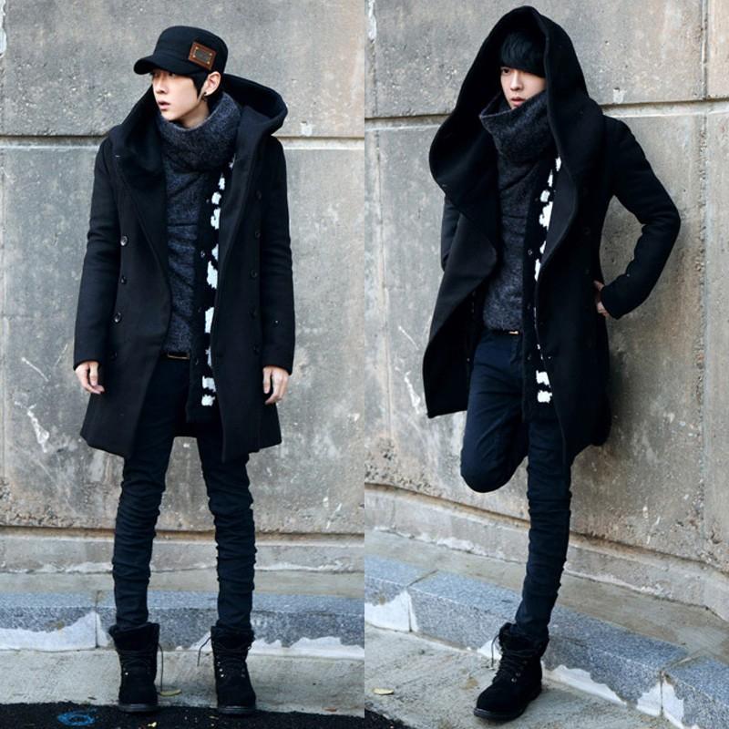 商務 外套男士中長款毛呢大衣修身加厚連帽風衣潮