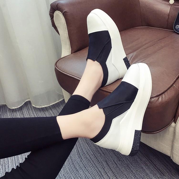 女鞋內增高休閒鞋2016  平底百搭舒適樂福鞋女 松糕鞋子