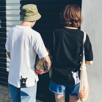 ♛ 實拍♛2017 夏 短袖情侶港風刺繡魚骨背後貓情侶裝短袖T 恤班服女生衣著韓妞 貨到