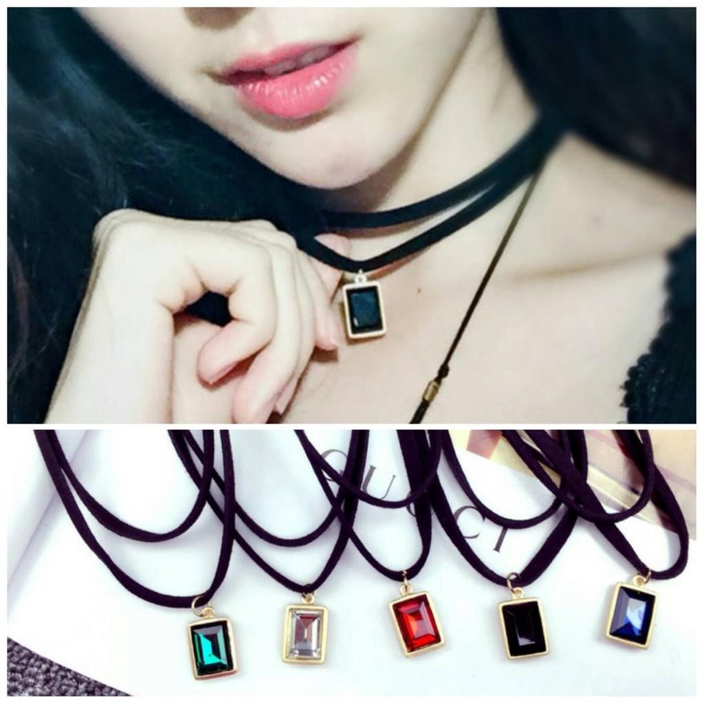 韓系飾品雙層絨皮方型方塊鑽石寶石短款頸鍊項鍊鎖骨鍊