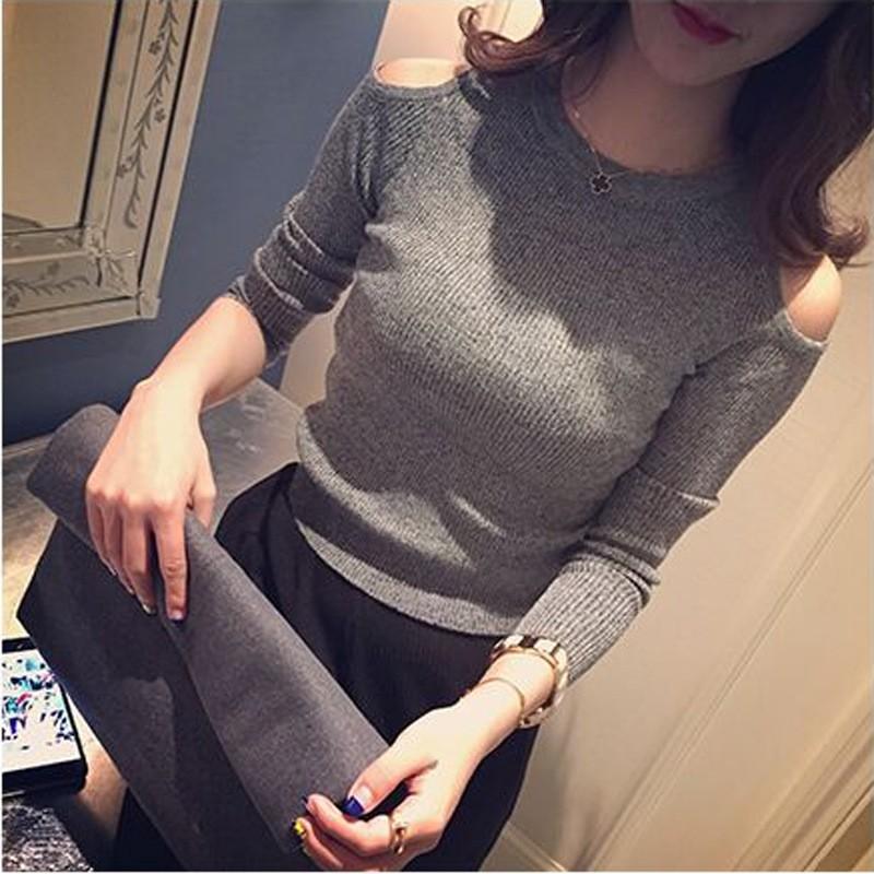 2016 年 女裝套頭短款打底衫薄款長袖露肩百搭針織衫女潮