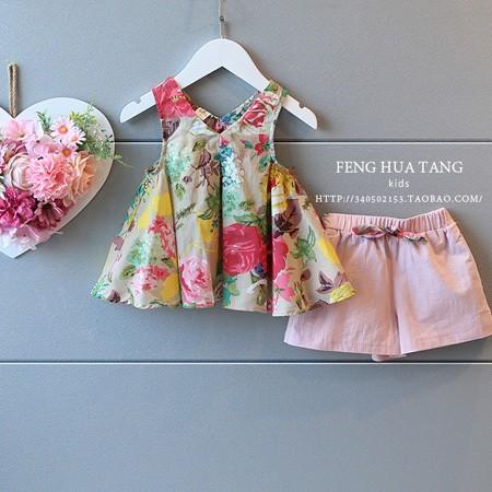 女童寶寶套裝2016 碎花兒童洋氣背心吊帶衫短褲兩件套