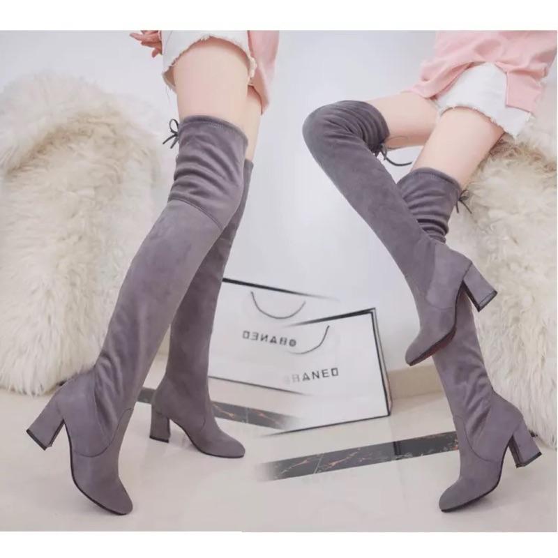 高跟長筒靴百搭絨面粗跟過膝長靴過膝靴