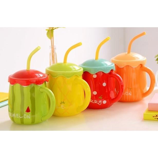 韓國ZAKKA  吸管水果杯大容量3d 立體陶瓷杯帶蓋子湯匙可愛牛奶早餐馬克杯