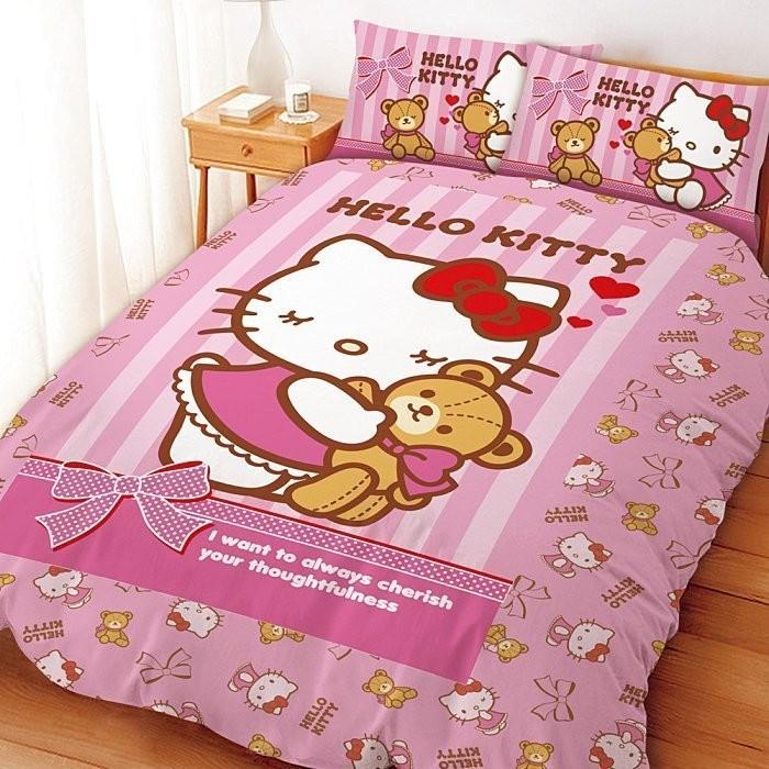 三麗鷗  系列寢飾~KITTY 我愛麻吉熊~單人雙人床包組被套兩用被鋪棉被套枕頭套華隆寢飾