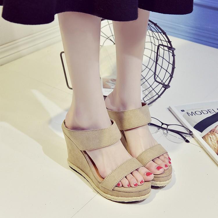 2017 厚底超高跟顯瘦性感夏天女涼鞋 磨砂露趾百搭坡跟涼拖女鞋