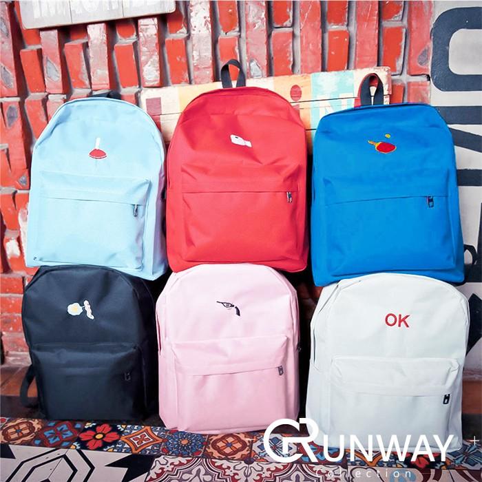 韓國捲筒紙槍OK 蛋培根特色刺繡圖案防水帆布大後背包學生旅行雙肩包書包後背包大包包
