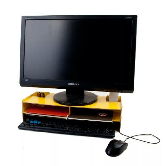 ~默默賣~木質DIY 拼裝電腦架電腦架螢幕架木質收納電腦螢幕增高收納架