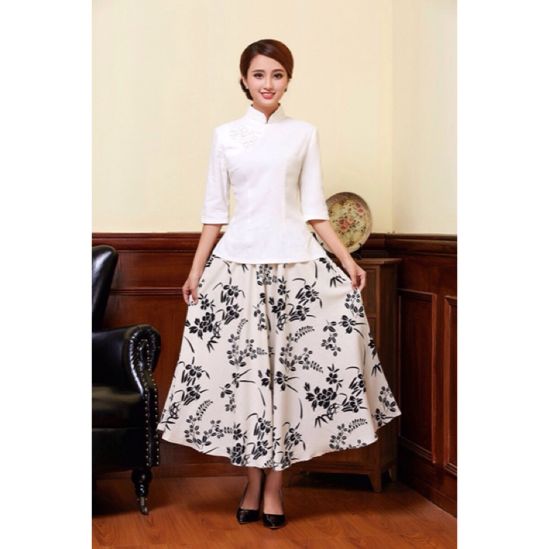 民族風白色旗袍上衣、亞麻碎花裙