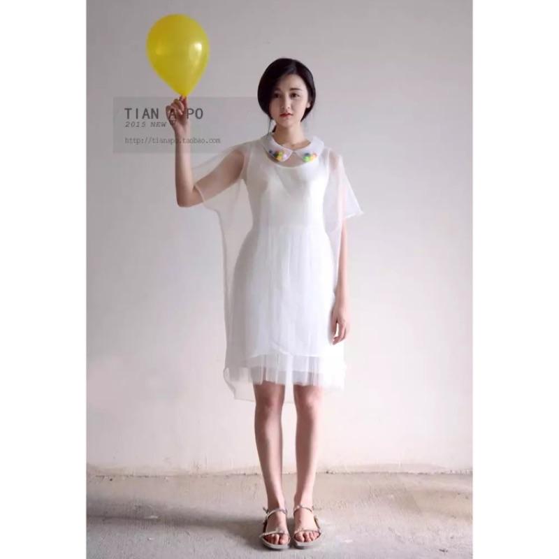趣味彩球娃娃領歐根紗透視寬鬆連衣裙薄紗夢幻