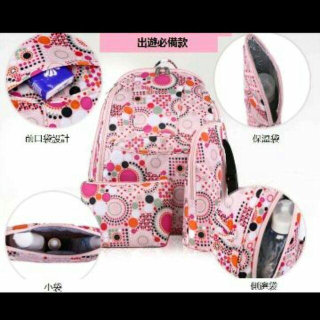安心小鋪~4846 ~太陽花超大容量多 媽媽包手提包雙肩包孕婦包媽咪袋保溫袋小袋3 件套包