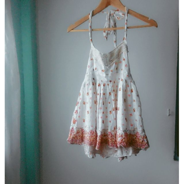 綁帶繞頸吊帶布蕾絲碎花圖騰露背上衣棉麻短洋裝