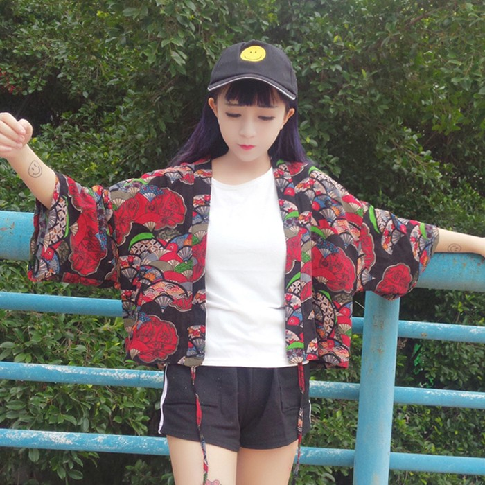韓國正品 丶 女裝日系復古寬松百搭和服防曬衣薄款棉麻短款外套學生上衣潮