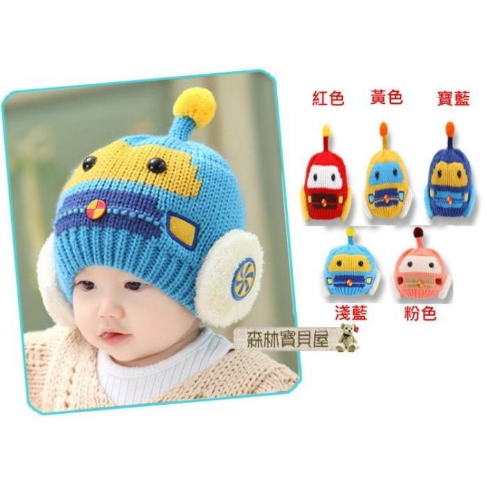 森林寶貝屋韓款幼兒加絨汽車護耳針織帽寶寶毛線保暖帽兒童可愛 帽護耳帽嬰兒帽毛線帽童帽5 色