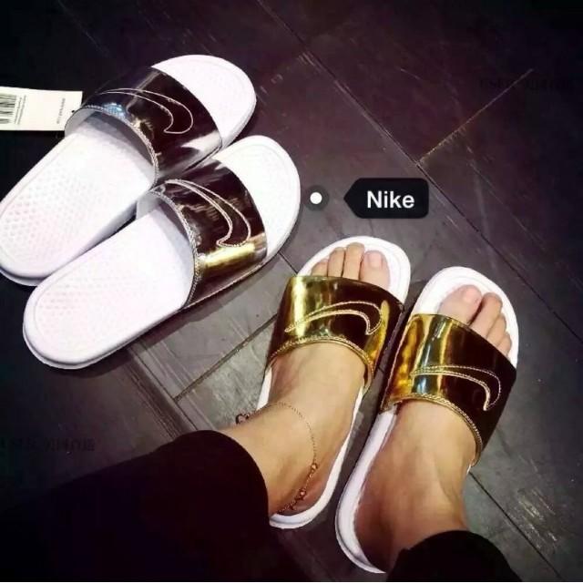 Nike Benassi Solarsoft Slide 金銀拖鞋涼鞋沙灘男女土豪金科技銀